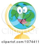 Clipart Happy Desk Globe Royalty Free Vector Illustration