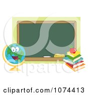 Clipart Desk Globe By A Chalkboard Royalty Free Vector Illustration