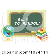 Clipart Desk Globe By A Back To School Chalkboard Royalty Free Vector Illustration