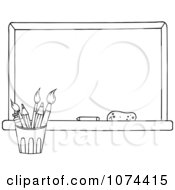 Clipart Outlined School Chalkboard And Pencil Cup Royalty Free Vector Illustration