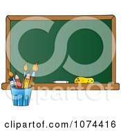Clipart School Chalkboard And Pencil Cup Royalty Free Vector Illustration