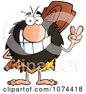 Clipart Caveman Gesturing Peace And Holding A Club Behind His Back 1 Royalty Free Vector Illustration by Hit Toon #COLLC1074418-0037