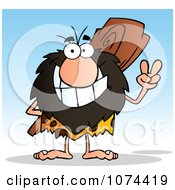 Clipart Caveman Gesturing Peace And Holding A Club Behind His Back 2 Royalty Free Vector Illustration
