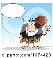 Clipart Talking Caveman Gesturing Peace And Holding A Club Behind His Back Royalty Free Vector Illustration
