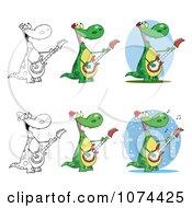 Clipart Guitarist Dinosaur Royalty Free Vector Illustration