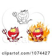 Clipart Grinning Devils Royalty Free Vector Illustration