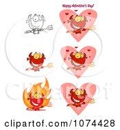 Clipart Valentine Devils Royalty Free Vector Illustration