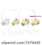 Clipart Happy Birthday Bees Royalty Free Vector Illustration