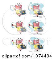 Clipart School Pencils Holding Report Cards Royalty Free Vector Illustration