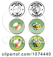 Clipart Welcome Back To School Bees And Worms Royalty Free Vector Illustration