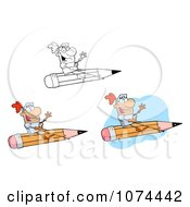 Clipart Knights Flying On A Pencil Royalty Free Vector Illustration by Hit Toon