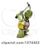 Poster, Art Print Of 3d Tortoise Swinging A Hammer