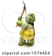 3d Tortoise Swinging A Pickaxe