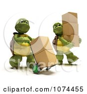 Clipart 3d Tortoises Carrying Shipping Boxes Royalty Free CGI Illustration by KJ Pargeter