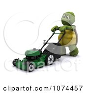 Clipart 3d Tortoise Pushing A Lawn Mower Royalty Free CGI Illustration by KJ Pargeter