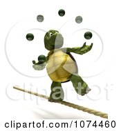 3d Tortoise Juggling On A Tightrope