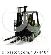 3d Tortoise Operating A Forklift