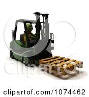 3d Tortoise Moving A Pallet On A Forklift