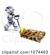3d Robot Pushing A Pallet On A Pallet Truck