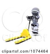 3d Robot Pushing A Pallet Truck