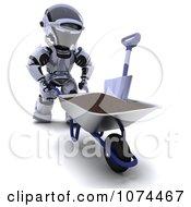 Clipart 3d Robot Pushing Soil In A Wheelbarrow Royalty Free CGI Illustration
