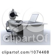 3d White Character Wearing A Headset And Using A Laptop