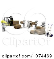 Clipart 3d White Characters Using A Dolly And Forklift In A Shipping Warehouse Royalty Free CGI Illustration