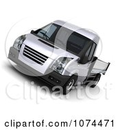 Clipart 3d Silver Flat Bed Truck Royalty Free CGI Illustration