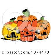 Clipart Creepy Dracula Frankenstein And Werewolf Jackolantern Halloween Pumpkins Royalty Free Vector Illustration