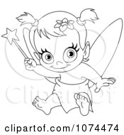 Outlined Baby Fairy Holding Up A Wand