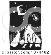 Clipart Black And White Woodcut Woman Lifting A Curtain Over Children Royalty Free Vector Illustration by xunantunich