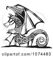 Clipart Black And White Woodcut Girl Hugging A Dragon Royalty Free Vector Illustration