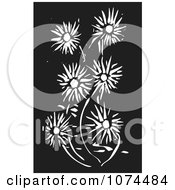 Clipart Black And White Woodcut Daisy Flowers Royalty Free Vector Illustration by xunantunich