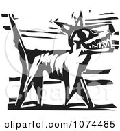 Clipart Black And White Woodcut Dog Barking Royalty Free Vector Illustration by xunantunich