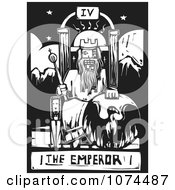 Clipart Black And White Woodcut Tarot Emperor Royalty Free Vector Illustration