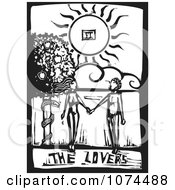 Clipart Black And White Woodcut Tarot Lovers Royalty Free Vector Illustration by xunantunich