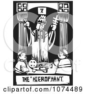 Clipart Black And White Woodcut Tarot Pope Royalty Free Vector Illustration by xunantunich