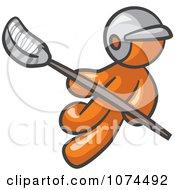Clipart Orange Man Lacross Player Royalty Free Illustration