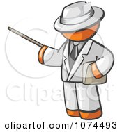 Clipart Orange Man Teacher Using A Pointer In A White Suit Royalty Free Illustration