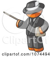 Clipart Orange Man Teacher Using A Pointer In A Black Suit Royalty Free Illustration