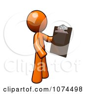 Clipart Orange Man Holding A Clipboard Royalty Free Illustration