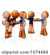 Clipart Orange Man Instructing A Dance Team Royalty Free Illustration