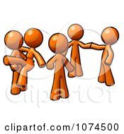 Clipart Orange Man And Two Couples Dancing Royalty Free Illustration