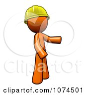 Clipart Orange Man Wearing A Hardhat And Presenting Royalty Free Illustration