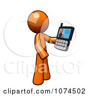 Clipart Orange Man Holding A Video Chat Cell Phone Royalty Free Illustration