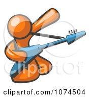 Orange Man Guitarist Musician Playing On His Knees