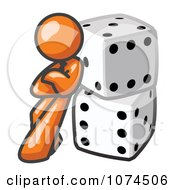 Clipart Orange Man Leaning Against Dice Royalty Free Vector Illustration by Leo Blanchette