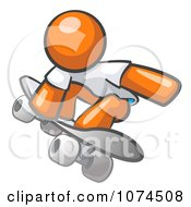 Clipart Orange Man Skateboarder Royalty Free Vector Illustration by Leo Blanchette