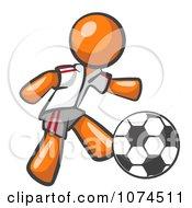 Clipart Orange Man Soccer Player Royalty Free Vector Illustration