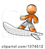 Clipart Orange Man Surfer Royalty Free Vector Illustration by Leo Blanchette